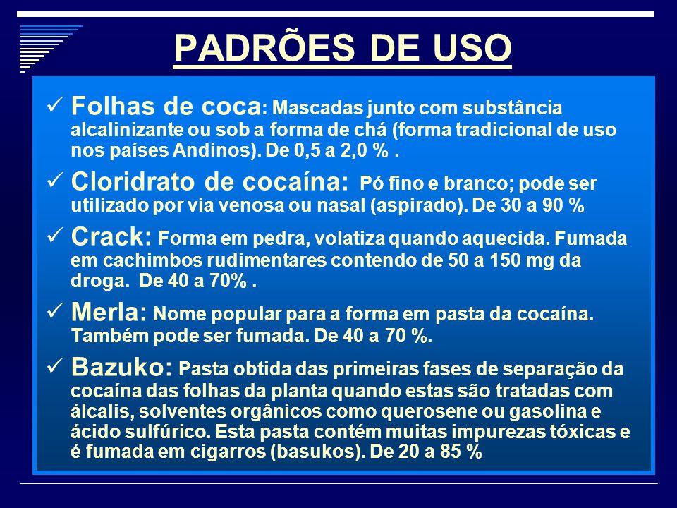 PADRÕES DE USO Folhas de coca : Mascadas junto com substância alcalinizante ou sob a forma de chá (forma tradicional de uso nos países Andinos). De 0,
