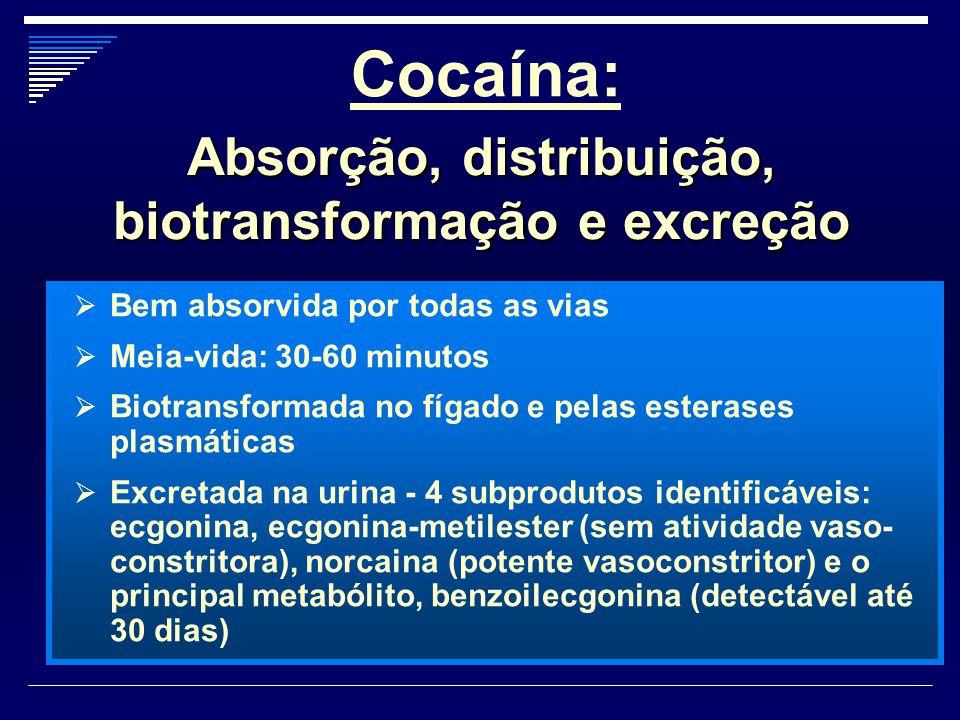 Cocaína:  Bem absorvida por todas as vias  Meia-vida: 30-60 minutos  Biotransformada no fígado e pelas esterases plasmáticas  Excretada na urina -