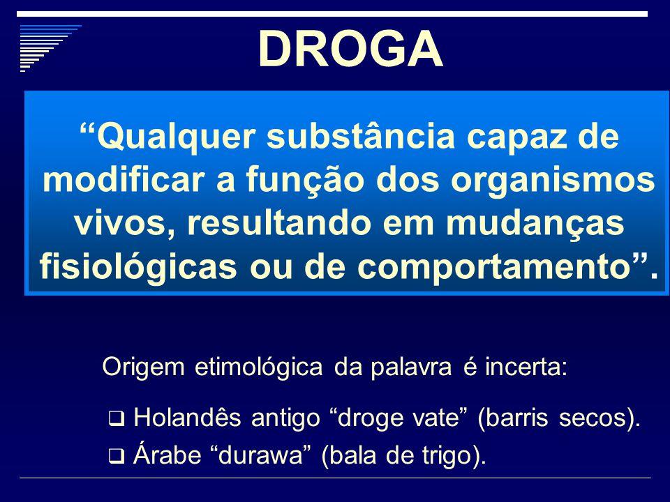 """DROGA """"Qualquer substância capaz de modificar a função dos organismos vivos, resultando em mudanças fisiológicas ou de comportamento"""". Origem etimológ"""