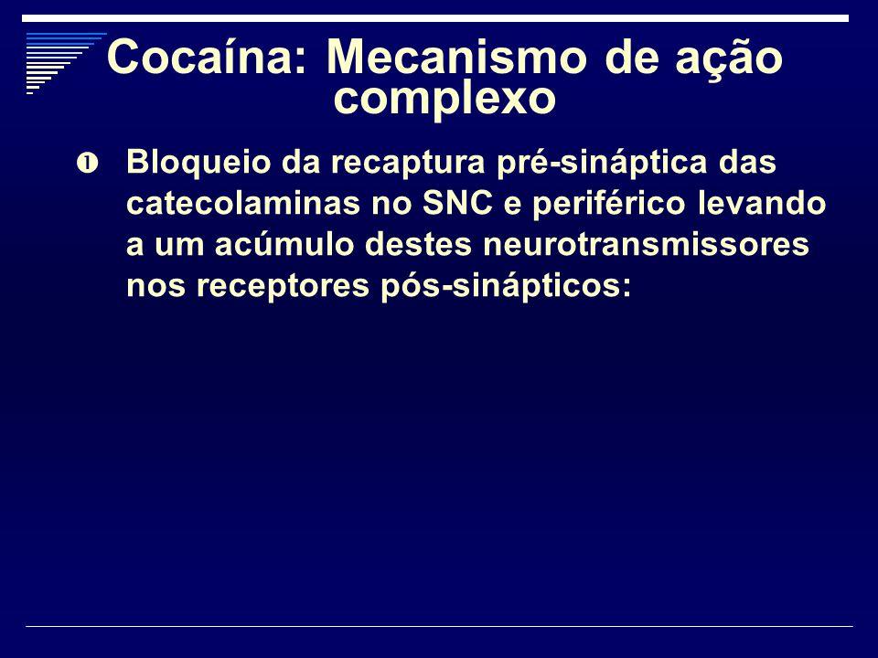 Cocaína: Mecanismo de ação complexo  Bloqueio da recaptura pré-sináptica das catecolaminas no SNC e periférico levando a um acúmulo destes neurotrans