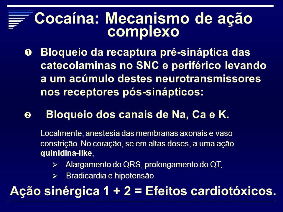  Bloqueio da recaptura pré-sináptica das catecolaminas no SNC e periférico levando a um acúmulo destes neurotransmissores nos receptores pós-sináptic