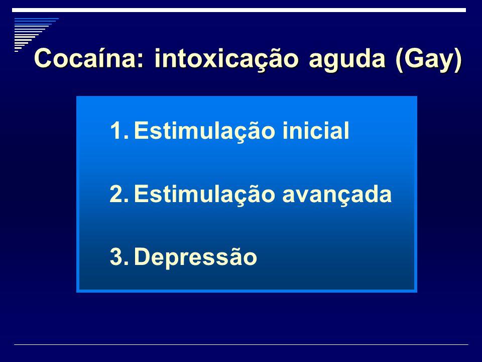 Cocaína: intoxicação aguda (Gay) 1.Estimulação inicial 2.Estimulação avançada 3.Depressão
