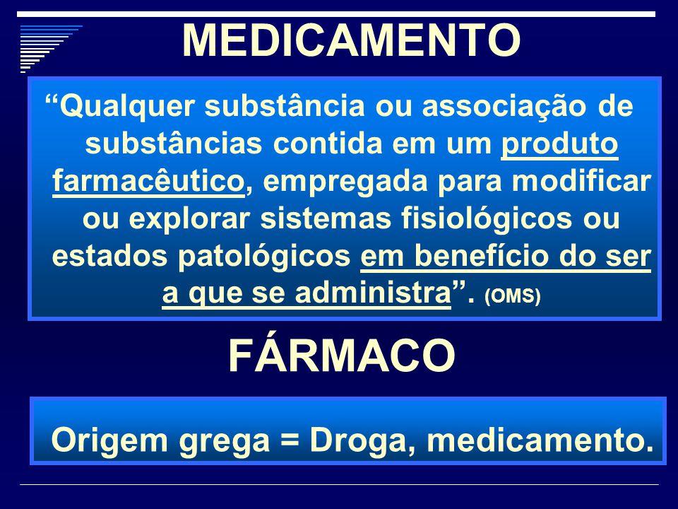 """MEDICAMENTO """"Qualquer substância ou associação de substâncias contida em um produto farmacêutico, empregada para modificar ou explorar sistemas fisiol"""