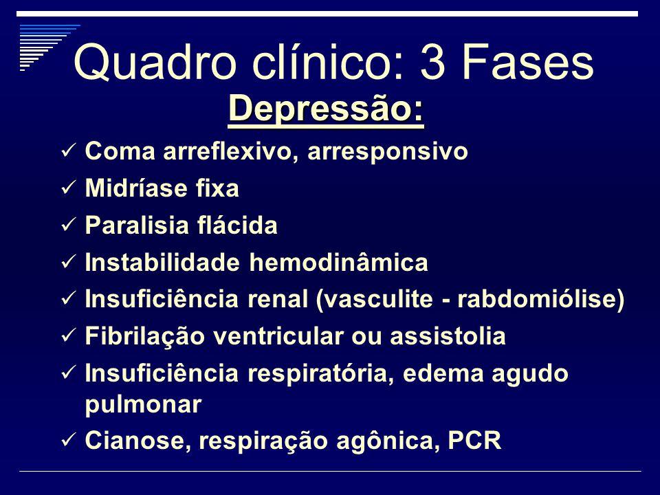 Quadro clínico: 3 Fases Depressão: Coma arreflexivo, arresponsivo Midríase fixa Paralisia flácida Instabilidade hemodinâmica Insuficiência renal (vasc