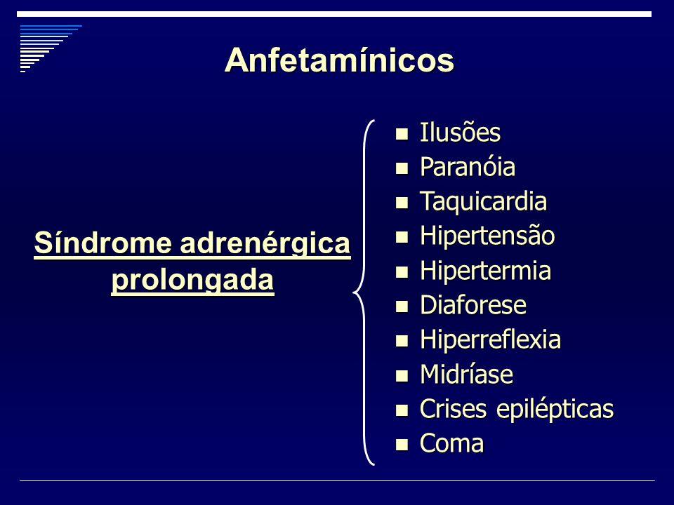 Anfetamínicos Ilusões Ilusões Paranóia Paranóia Taquicardia Taquicardia Hipertensão Hipertensão Hipertermia Hipertermia Diaforese Diaforese Hiperrefle