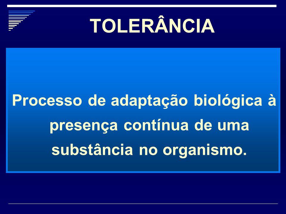 TOLERÂNCIA Processo de adaptação biológica à presença contínua de uma substância no organismo.