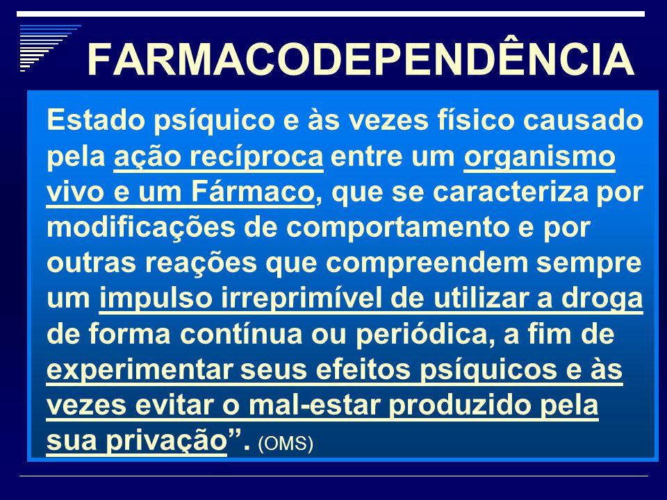 FARMACODEPENDÊNCIA Estado psíquico e às vezes físico causado pela ação recíproca entre um organismo vivo e um Fármaco, que se caracteriza por modifica