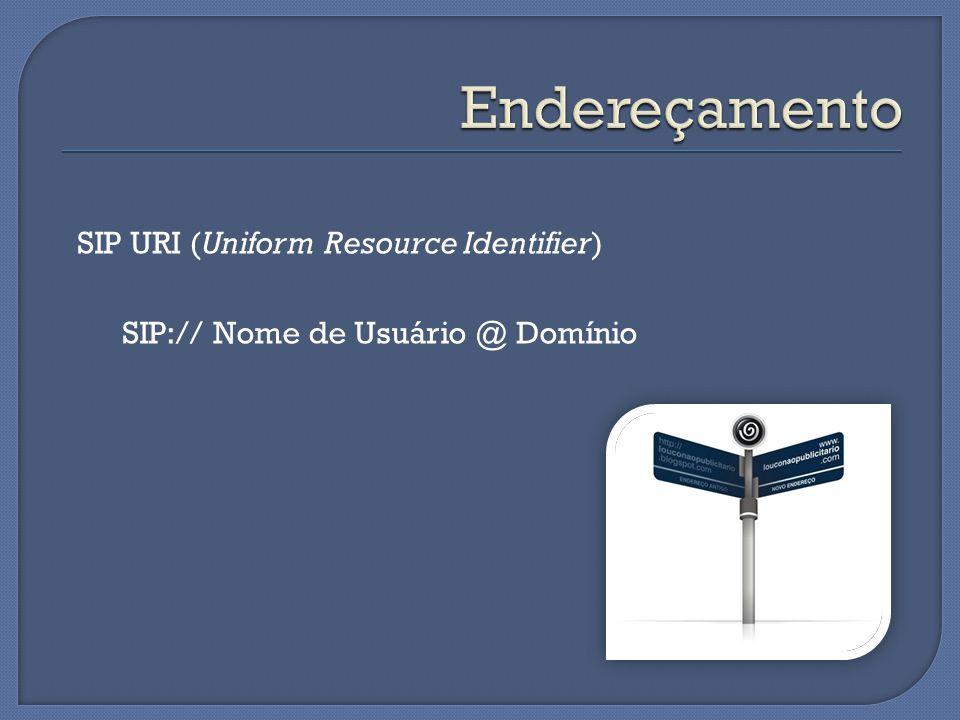 SIP URI (Uniform Resource Identifier) SIP:// Nome de Usuário @ Domínio