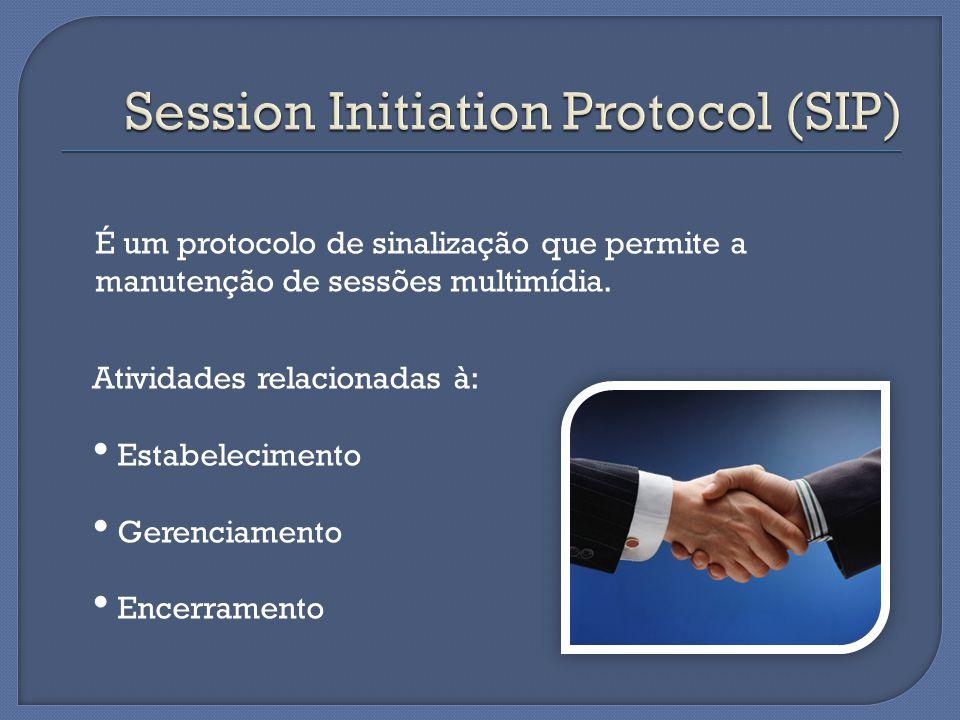 Atividades relacionadas à: Estabelecimento Gerenciamento Encerramento É um protocolo de sinalização que permite a manutenção de sessões multimídia.