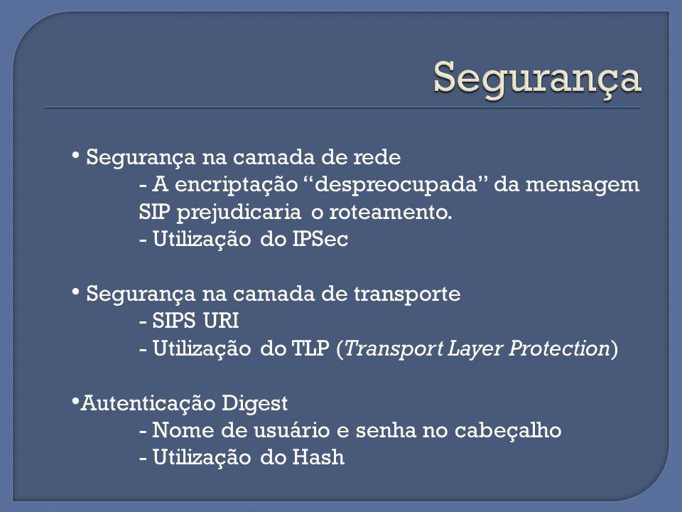 """Segurança na camada de rede - A encriptação """"despreocupada"""" da mensagem SIP prejudicaria o roteamento. - Utilização do IPSec Segurança na camada de tr"""