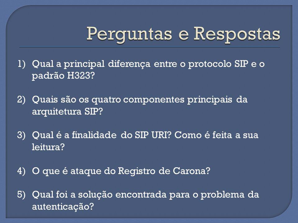 1)Qual a principal diferença entre o protocolo SIP e o padrão H323? 2)Quais são os quatro componentes principais da arquitetura SIP? 3)Qual é a finali