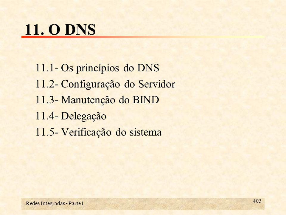 Redes Integradas - Parte I 434 11.3- Manutenção do BIND Durante a sua execução, o named interpreta vários sinais (signals) como pedidos especiais: –SIGUP (-HUP) : Reler os arquivos de dados.