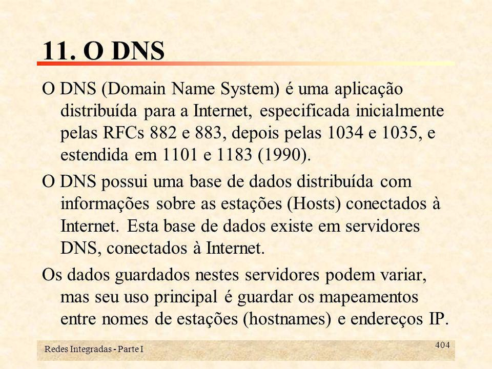 Redes Integradas - Parte I 415 11.1- Os princípios do DNS Normalmente, este processo é feito começando-se por uma consulta a servidores de nomes da raiz, e depois, consultando os servidores delegados dos subdomínios correspondentes.