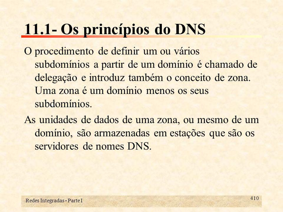 Redes Integradas - Parte I 411 11.1- Os princípios do DNS Quando um servidor de nomes tem o conhecimento completo das informações de uma zona, ou de um domínio, de uma forma persistente, diz-se que ele tem autoridade nesta zona e que ele é um servidor primário para ela.