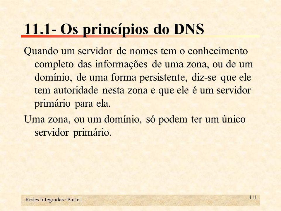Redes Integradas - Parte I 412 11.1- Os princípios do DNS Um servidor de nomes secundário para uma zona, ou domínio, mantém uma cópia em um cache de dados do servidor primário.