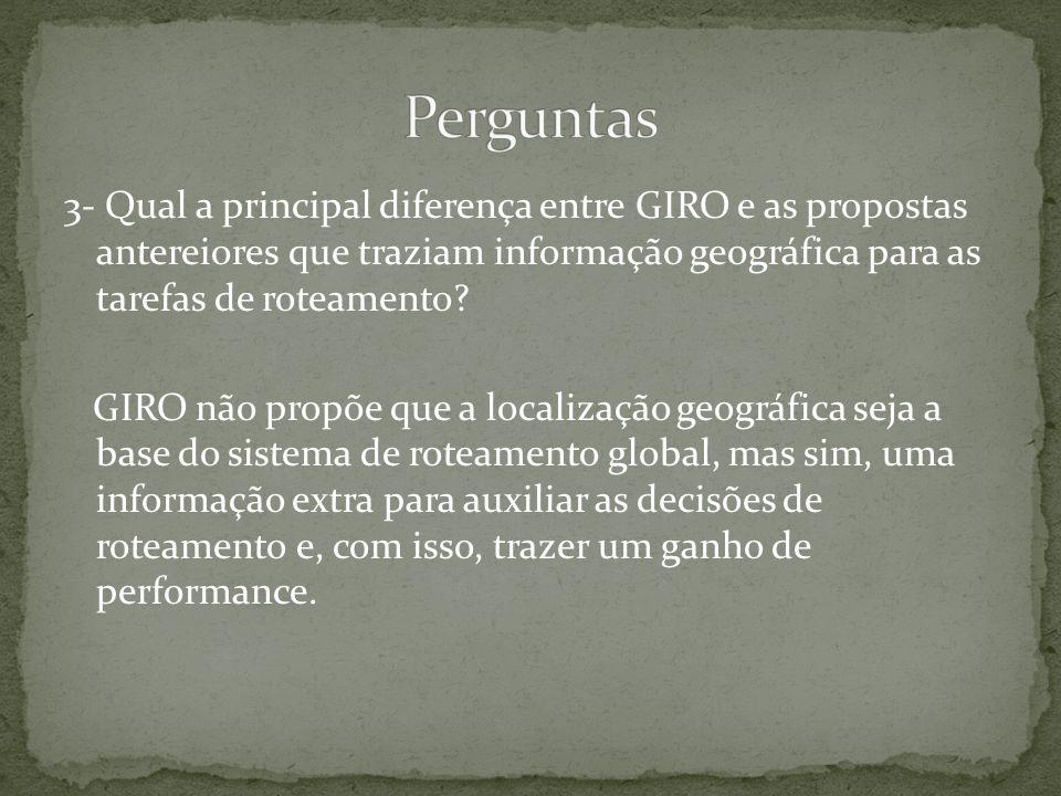 3- Qual a principal diferença entre GIRO e as propostas antereiores que traziam informação geográfica para as tarefas de roteamento.