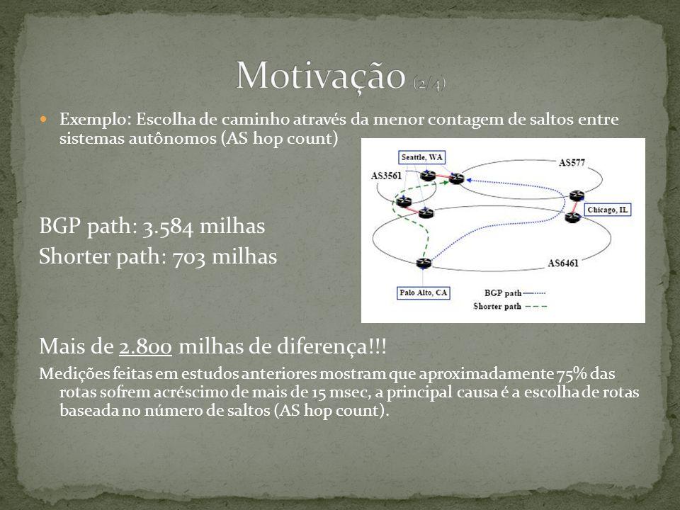 Exemplo: Escolha de caminho através da menor contagem de saltos entre sistemas autônomos (AS hop count) BGP path: 3.584 milhas Shorter path: 703 milhas Mais de 2.800 milhas de diferença!!.