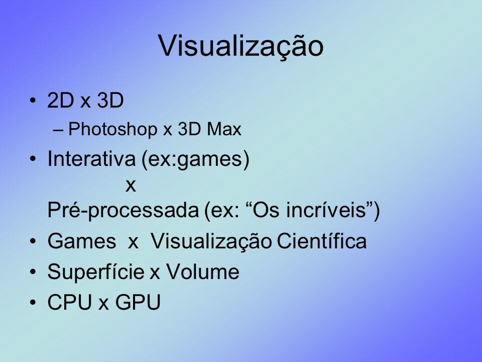 """Visualização 2D x 3D –Photoshop x 3D Max Interativa (ex:games) x Pré-processada (ex: """"Os incríveis"""") Games x Visualização Científica Superfície x Volu"""