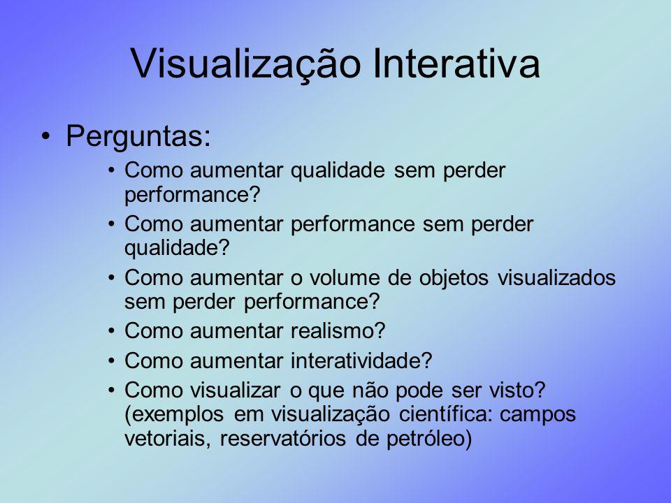 Visualização Interativa Perguntas: Como aumentar qualidade sem perder performance? Como aumentar performance sem perder qualidade? Como aumentar o vol