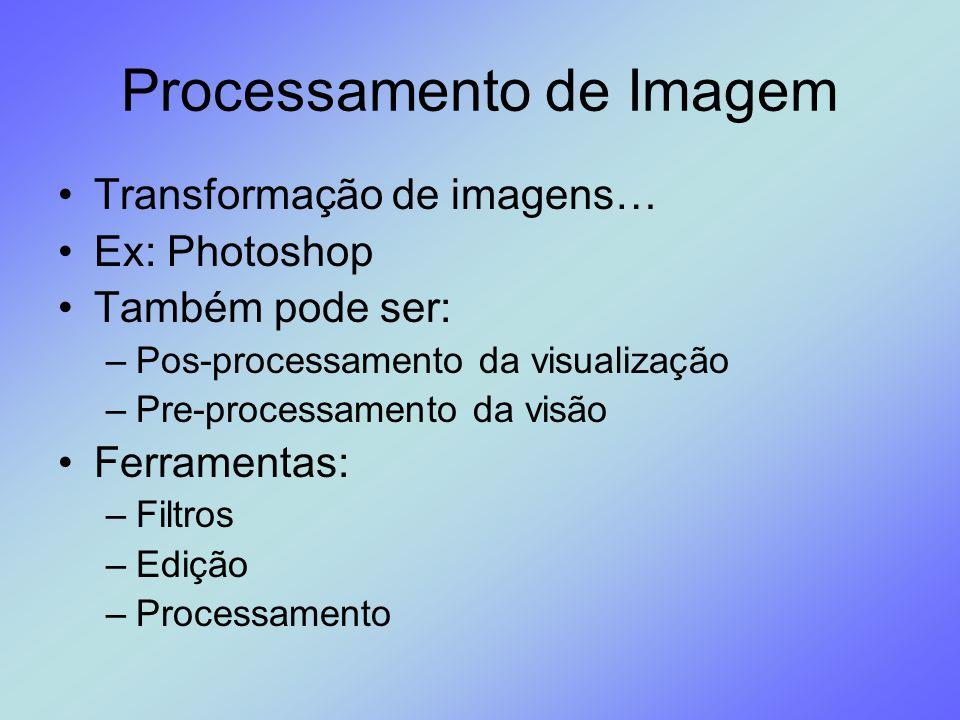Processamento de Imagem Transformação de imagens… Ex: Photoshop Também pode ser: –Pos-processamento da visualização –Pre-processamento da visão Ferram