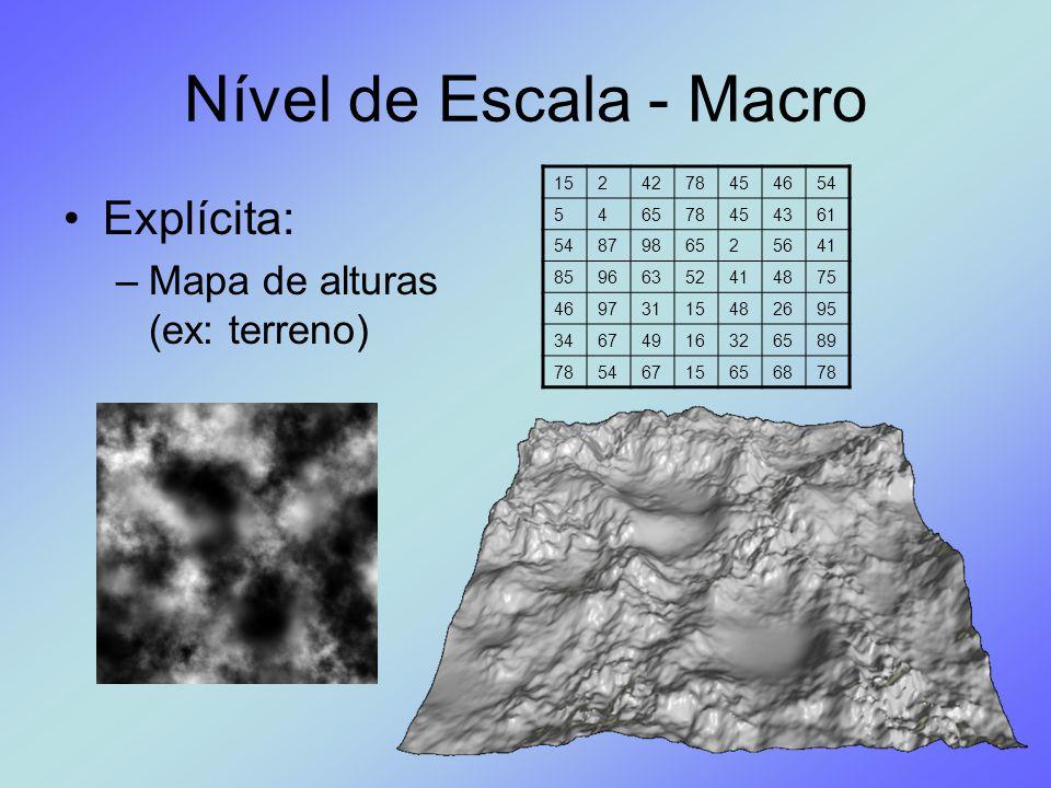 Nível de Escala - Macro Explícita: –Mapa de alturas (ex: terreno) 1524278454654 546578454361 5487986525641 85966352414875 46973115482695 3467491632658