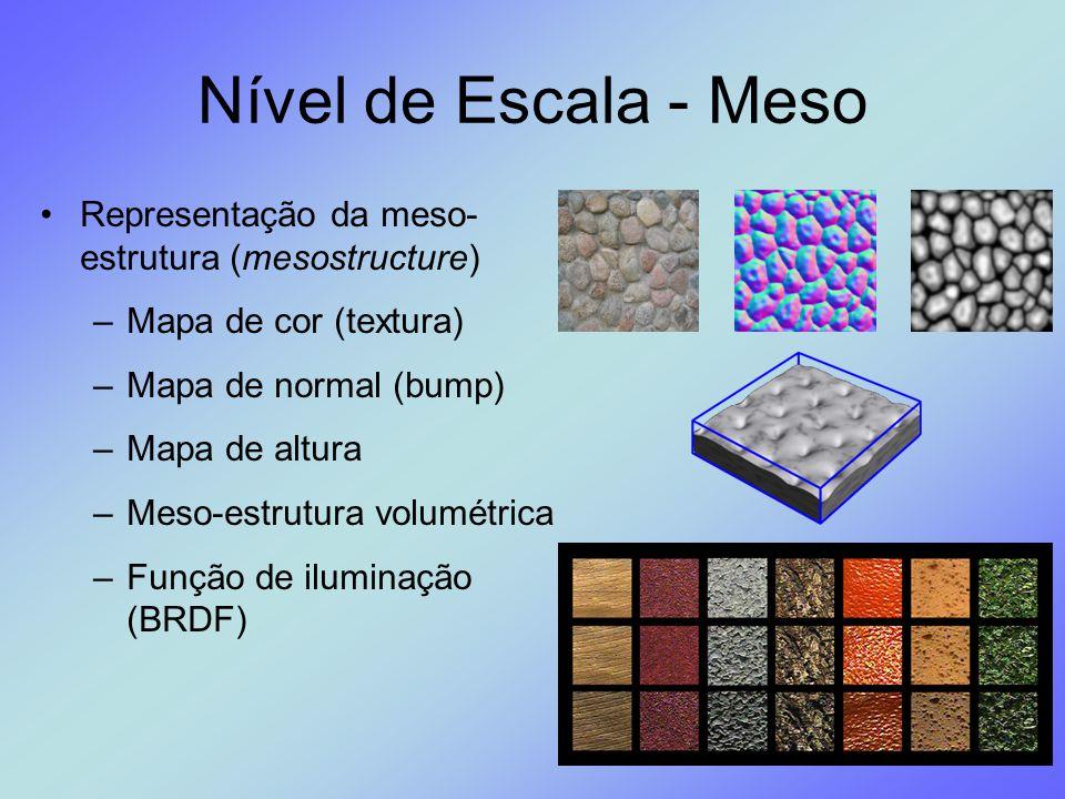 Nível de Escala - Meso Representação da meso- estrutura (mesostructure) –Mapa de cor (textura) –Mapa de normal (bump) –Mapa de altura –Meso-estrutura