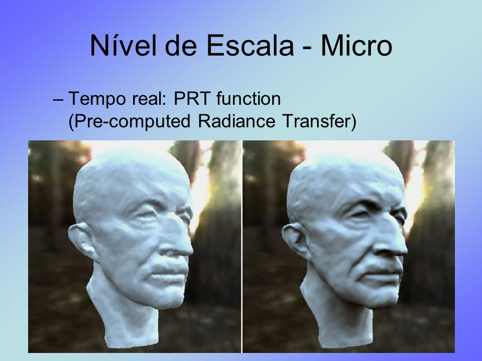 Nível de Escala - Micro –Tempo real: PRT function (Pre-computed Radiance Transfer)