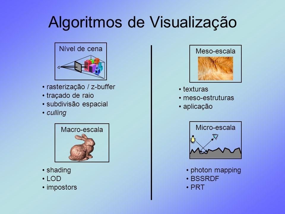 Algoritmos de Visualização Nível de cenaMacro-escalaMicro-escalaMeso-escala rasterização / z-buffer traçado de raio subdivisão espacial culling shadin