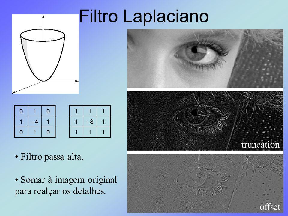Filtro Laplaciano 010 1- 41 010 111 1- 81 111 Filtro passa alta. Somar à imagem original para realçar os detalhes. truncation offset