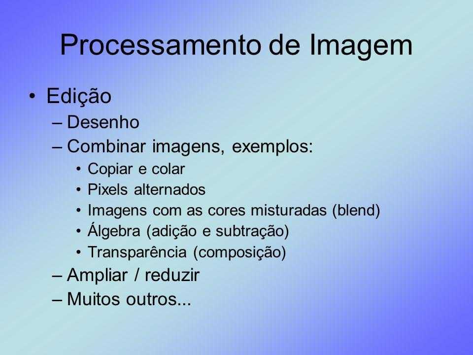 Processamento de Imagem Edição –Desenho –Combinar imagens, exemplos: Copiar e colar Pixels alternados Imagens com as cores misturadas (blend) Álgebra