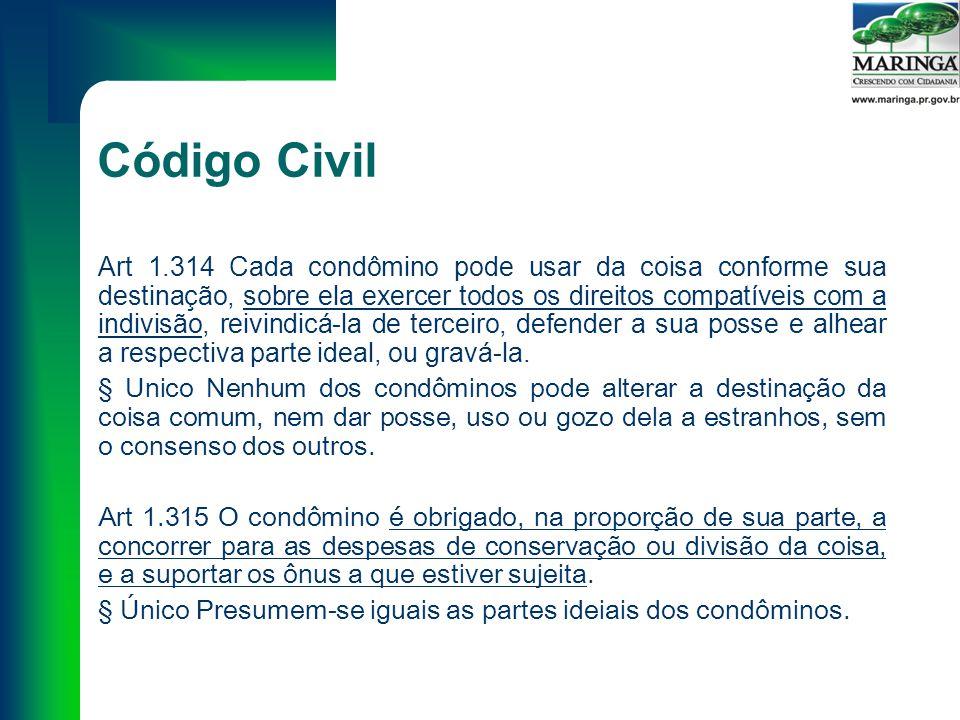 Código Civil Art 1.314 Cada condômino pode usar da coisa conforme sua destinação, sobre ela exercer todos os direitos compatíveis com a indivisão, reivindicá-la de terceiro, defender a sua posse e alhear a respectiva parte ideal, ou gravá-la.