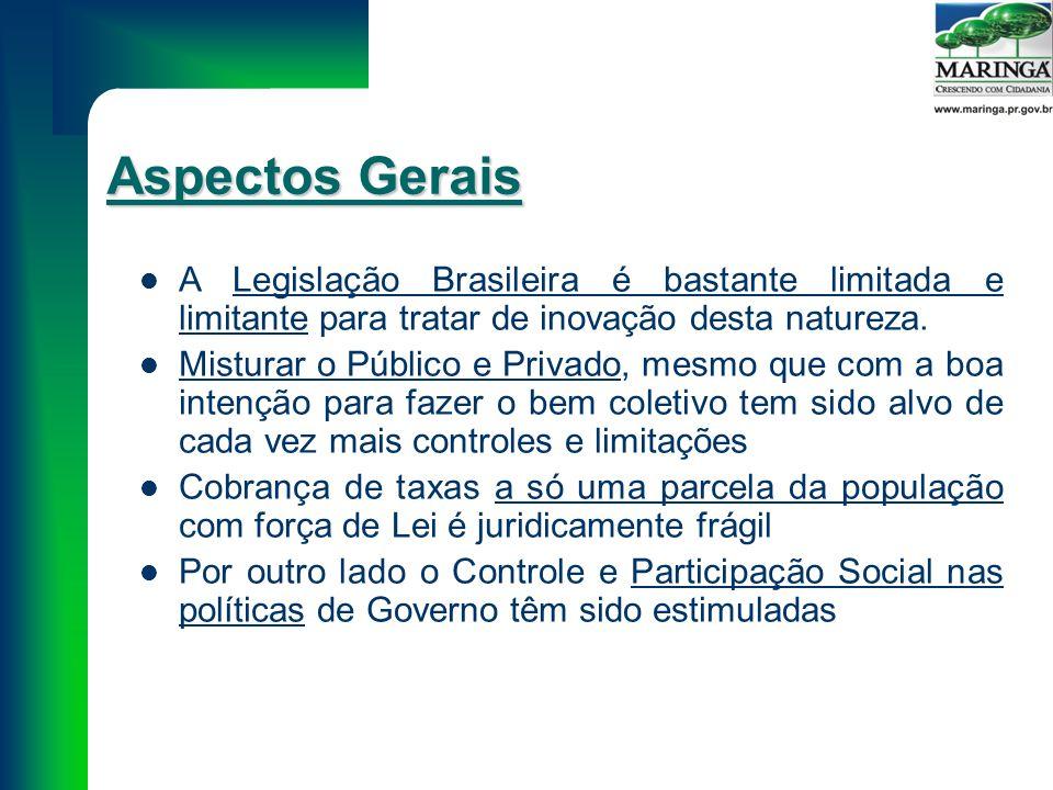 Aspectos Gerais A Legislação Brasileira é bastante limitada e limitante para tratar de inovação desta natureza.