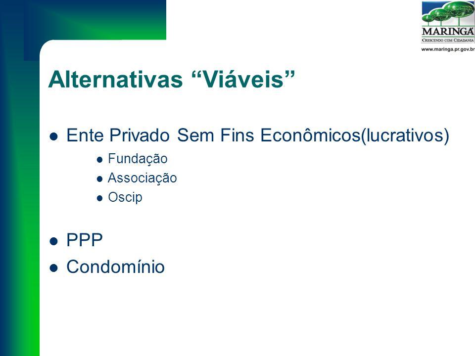 Alternativas Viáveis Ente Privado Sem Fins Econômicos(lucrativos) Fundação Associação Oscip PPP Condomínio