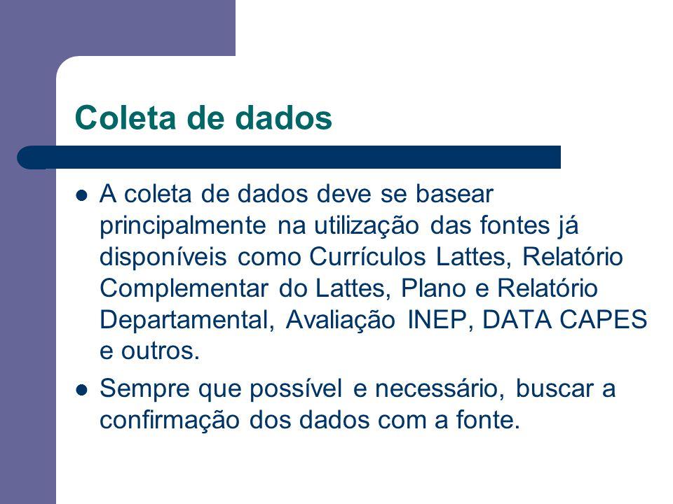 Coleta de dados A coleta de dados deve se basear principalmente na utilização das fontes já disponíveis como Currículos Lattes, Relatório Complementar do Lattes, Plano e Relatório Departamental, Avaliação INEP, DATA CAPES e outros.