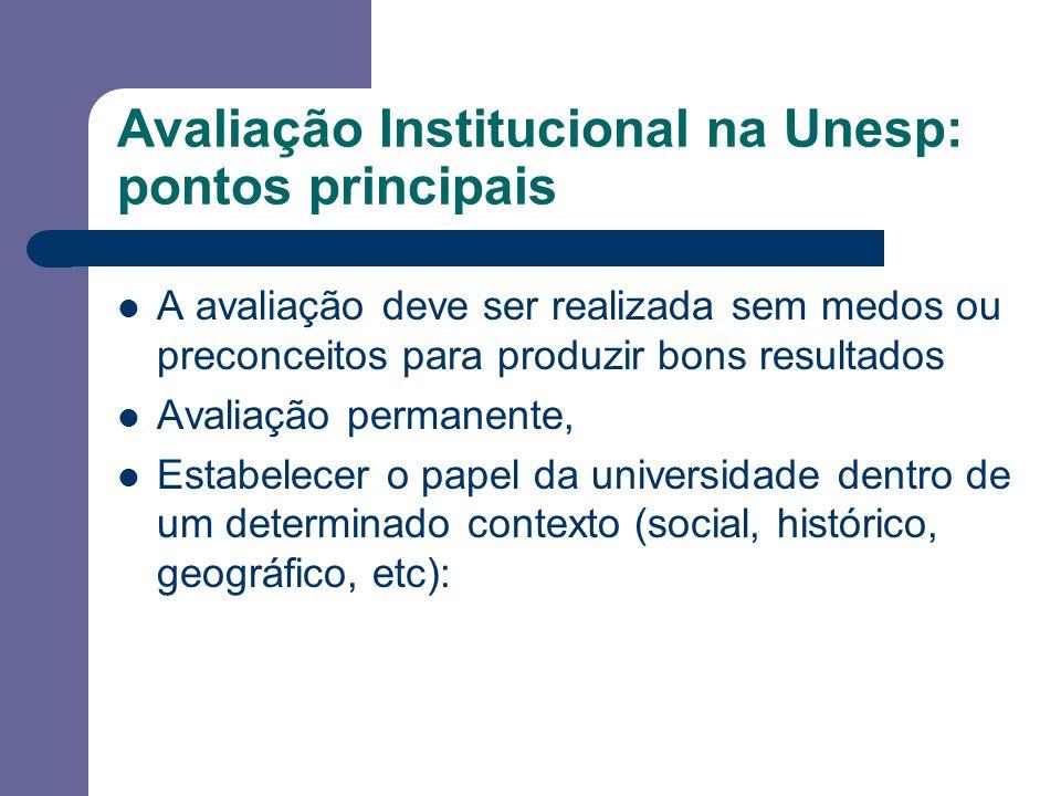 Avaliação Institucional na Unesp: pontos principais A avaliação deve ser realizada sem medos ou preconceitos para produzir bons resultados Avaliação permanente, Estabelecer o papel da universidade dentro de um determinado contexto (social, histórico, geográfico, etc):