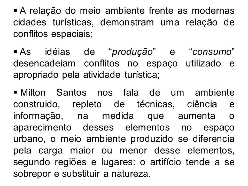""" A relação do meio ambiente frente as modernas cidades turísticas, demonstram uma relação de conflitos espaciais;  As idéias de """"produção"""" e """"consum"""