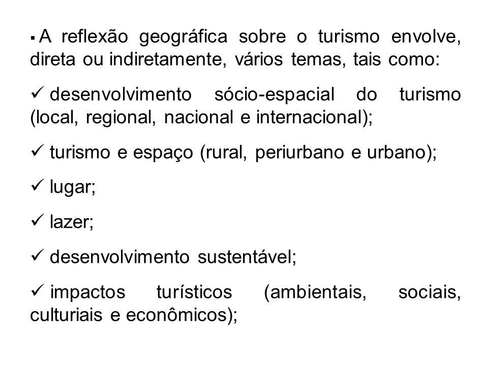  A reflexão geográfica sobre o turismo envolve, direta ou indiretamente, vários temas, tais como: desenvolvimento sócio-espacial do turismo (local, regional, nacional e internacional); turismo e espaço (rural, periurbano e urbano); lugar; lazer; desenvolvimento sustentável; impactos turísticos (ambientais, sociais, culturiais e econômicos);
