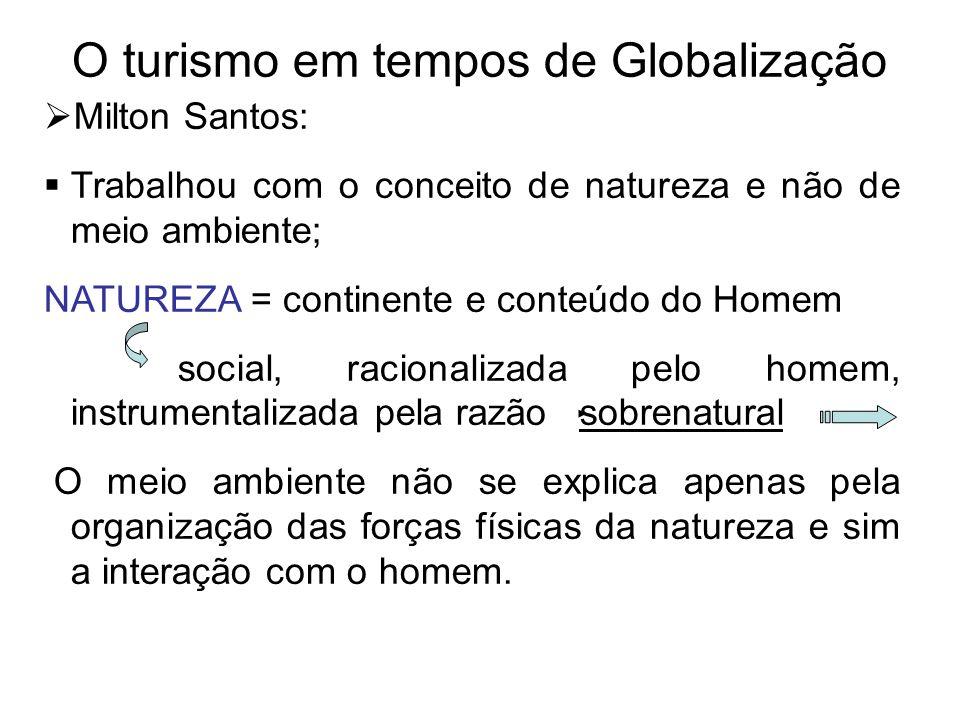O turismo em tempos de Globalização  Milton Santos:  Trabalhou com o conceito de natureza e não de meio ambiente; NATUREZA = continente e conteúdo d