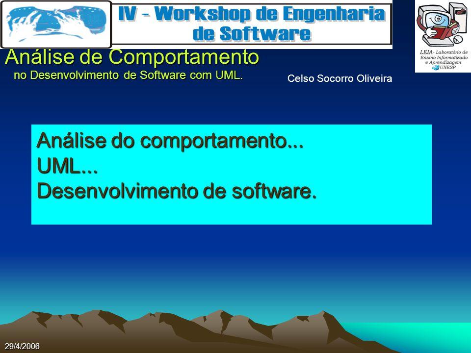 Celso Socorro Oliveira Análise de Comportamento no Desenvolvimento de Software com UML. 29/4/2006 Análise do comportamento... UML... Desenvolvimento d