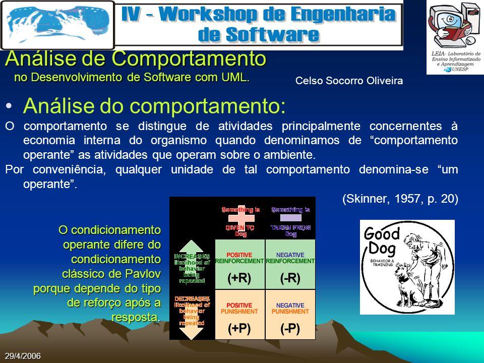 Celso Socorro Oliveira Análise de Comportamento no Desenvolvimento de Software com UML. 29/4/2006 Análise do comportamento: O comportamento se disting