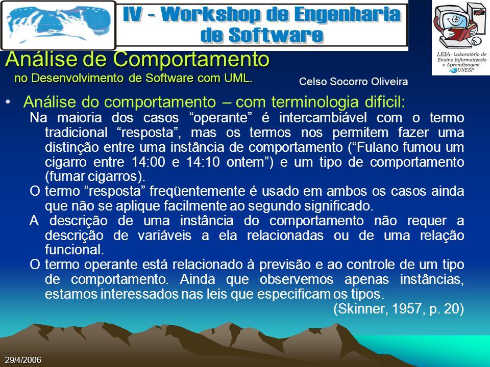 Celso Socorro Oliveira Análise de Comportamento no Desenvolvimento de Software com UML. 29/4/2006 Análise do comportamento – com terminologia dificil: