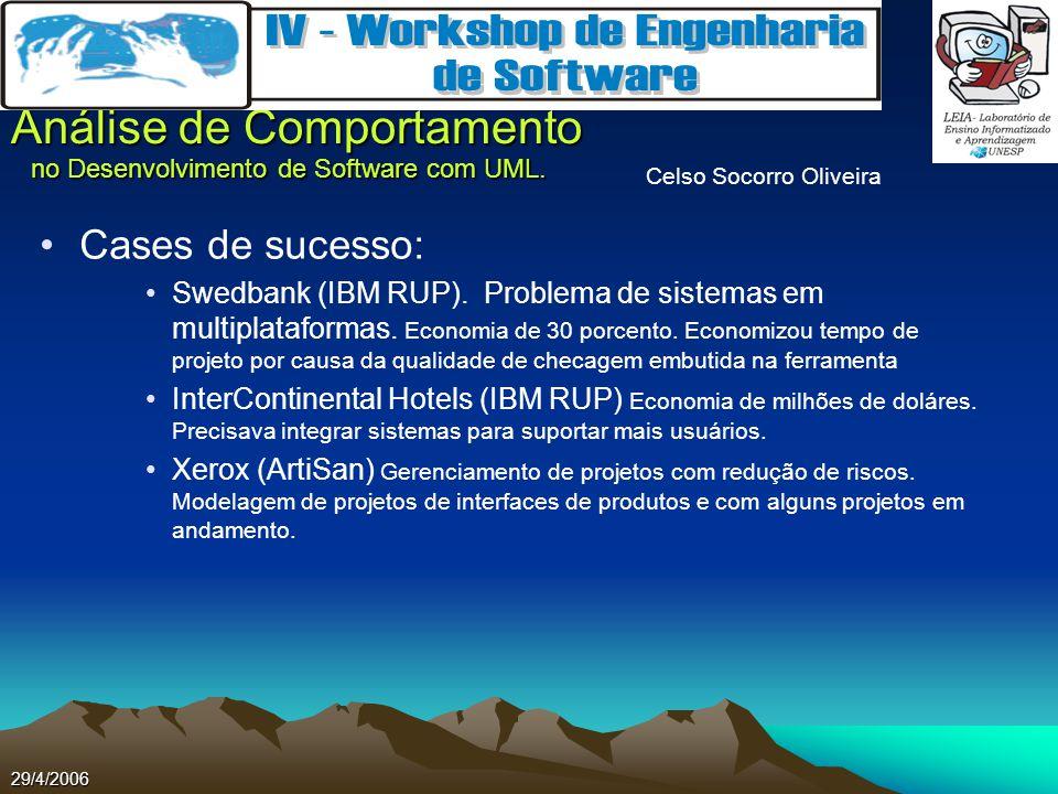 Celso Socorro Oliveira Análise de Comportamento no Desenvolvimento de Software com UML. 29/4/2006 Cases de sucesso: Swedbank (IBM RUP). Problema de si