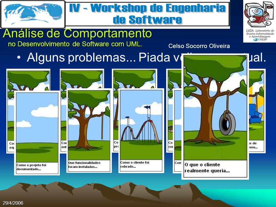 Celso Socorro Oliveira Análise de Comportamento no Desenvolvimento de Software com UML. 29/4/2006 Alguns problemas... Piada velha, mas atual.
