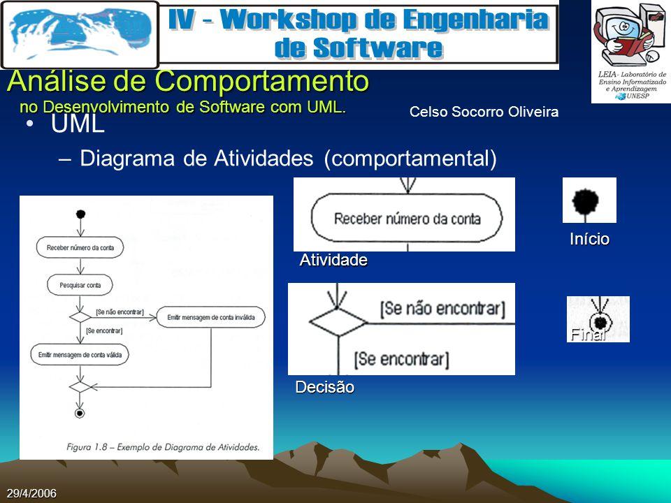 Celso Socorro Oliveira Análise de Comportamento no Desenvolvimento de Software com UML. 29/4/2006 UML –Diagrama de Atividades (comportamental) Final I