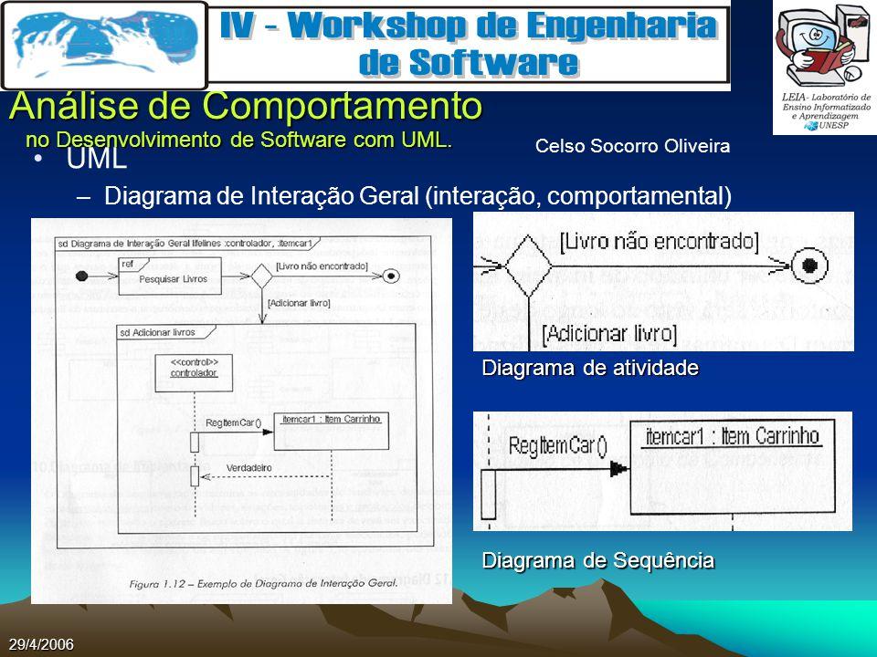 Celso Socorro Oliveira Análise de Comportamento no Desenvolvimento de Software com UML. 29/4/2006 UML –Diagrama de Interação Geral (interação, comport