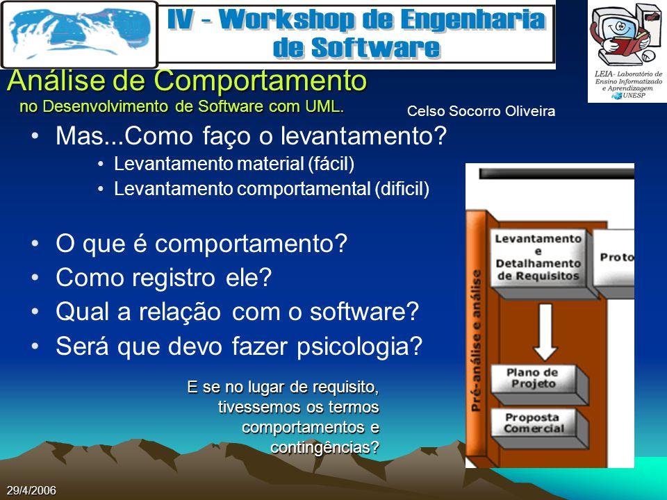 Celso Socorro Oliveira Análise de Comportamento no Desenvolvimento de Software com UML. 29/4/2006 Mas...Como faço o levantamento? Levantamento materia