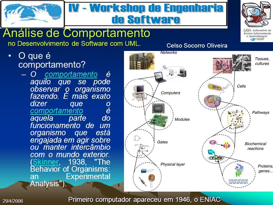 Celso Socorro Oliveira Análise de Comportamento no Desenvolvimento de Software com UML. 29/4/2006 O que é comportamento? –O comportamento é aquilo que