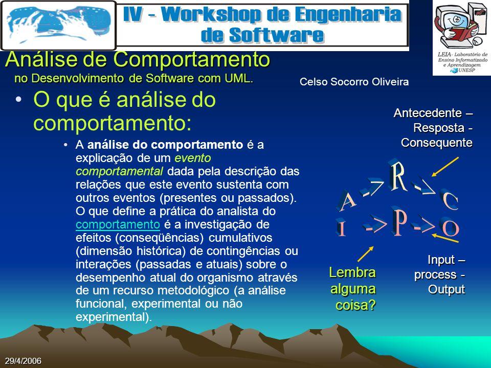Celso Socorro Oliveira Análise de Comportamento no Desenvolvimento de Software com UML. 29/4/2006 O que é análise do comportamento: A análise do compo