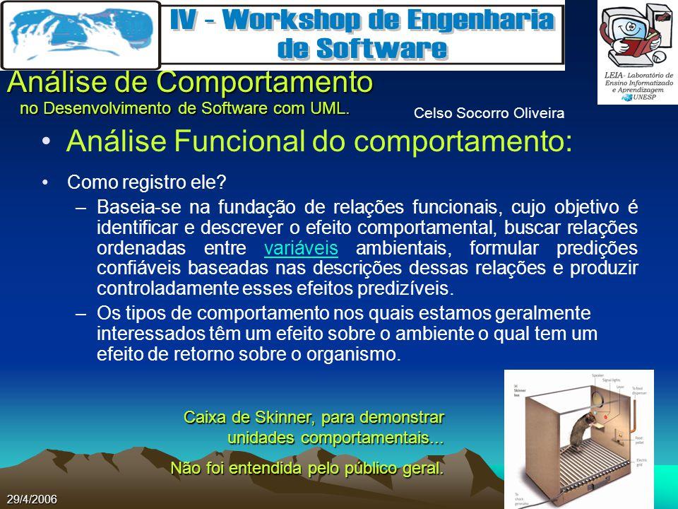 Celso Socorro Oliveira Análise de Comportamento no Desenvolvimento de Software com UML. 29/4/2006 Análise Funcional do comportamento: Como registro el