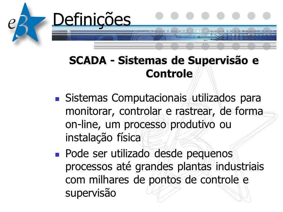Definições SCADA - Sistemas de Supervisão e Controle Sistemas Computacionais utilizados para monitorar, controlar e rastrear, de forma on-line, um pro